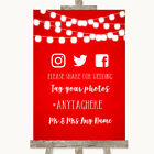Wedding Sign Poster Print Red Watercolour Lights Social Media Hashtag Photos