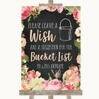 Wedding Sign Poster Print Chalkboard Style Pink Roses Bucket List