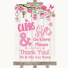 Wedding Sign Poster Print Pink Rustic Wood Cards  Gifts Table