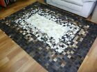 Leather Patchwork Cow Hide Lux Art Floor Rug Hand Made Cream Center