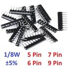 1/8w 5 Pin 6 7 9 Pin Dip Network Array Resistors ±5% Range 100Ω/ohm To 100kΩ/ohm