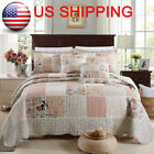 Shabby Chic Cottage Country Floral Quilt Throw Blanket Coverlet Bedspread Set P image