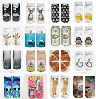 Spring Fashion 1 Pair Cotton Blend Printed Men Women Unisex Ankle Socks Cute
