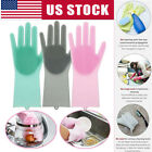 1 Pair Heat Resistant Magic Reusable Cleaning Brush Scrubber Silicone Gloves