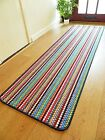 New Machine Washable Non Slip Multi Colour Stripe Kitchen Utility Mat Runner Rug