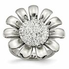 Chisel Stainless Steel Women's Clear CZ Flower Ring image