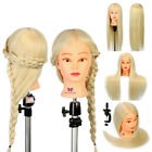 "26"" Real Human Hair Hairdressing Training Head Mannequin Styling Braid + Clamp"