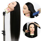 """26"""" Real Human Hair Hairdressing Training Head Mannequin Styling Braid + Clamp"""
