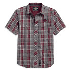 Genuine Harley-Davidson Genuine Men's Short Sleeve Red Grey Plaid Shirt