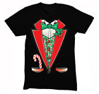 Mens Tuxedo Shirt Bowtie Ugly Sweater Christmas Party Crewneck T-Shirt