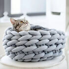 3 Size Handmade Knit Cat Bed Washable Winter Warm Small Soft Cave Bed 35/40/45cm