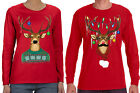 Reindeer Ugly Christmas Sweater Matching Couples Men Women Long Sleeve T-Shirt