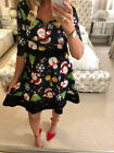 UK Womens Vintage Christmas Santa Swing Dress Ladies V-neck Party Skater Dresses
