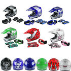 S/M/L/XL DOT Youth Kids Dirt Bike ATV Full Face Helmet Goggles W/Gloves 6 Colors
