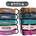 """10-12"""" Puppy Small Medium Personalized Dog Collars Leather Name Engraved Id Tag"""