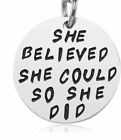 NEW pendant keychain,inspirational,key ring engraved charm,silver stainless,gift