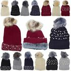 New Diamante Pearl Embellishment Faux Fur Pom Pom Winter Beanie Hat