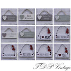 Mini Wooden Tags Shabby Chic Signs Sayings Friend Love Small Hanging Gift Tag