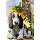 Welcome Cute Dog Wearing a Sunflower Garden Flag House Double sided Yard Banner