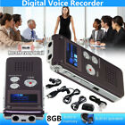 8GB Rechargeable Digital Audio/Sound/Voice Recorder DE Dictaphone MP3 Player USB