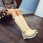 Women Cuffed Snow Hidden Wedge Heels Mid Calf Boots Buckle Strap Winter Booties