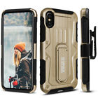 Apple iPhone X & XS Case, Dual Layer Case with Kickstand & Holster