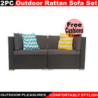 2pc Rattan Sofa Set Wicker Garden Furniture Outdoor Sofa Lounge Couch Setting