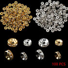 100pcs Silver Gold Crystal Rhinestone Rondelle Spacer Beads Diy Jewelry New