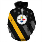 Pittsburgh Steelers Hoodie Lightweight Sweatshirt Unisex Men Women NFL Black
