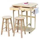 Kitchen Island Cart Trolley Storage Dining Table 2 Bar Stools 2 Drawers Set New