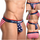 Men's Fashion Star Flag Stripe Bikini Thong Panties Lingerie Short G-String 520