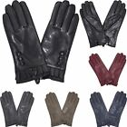 New Casual Ladies Stylish Faux Leather Pleated Cuff Button Detail Fashion Gloves