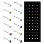 60PCS Nose Rings Bone Stud Pin CZ 22G Stainless Steel Body Piercings Jewelry image