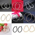 1 Pair Women Stainless Steel Silver Black Gold Rose Gold Large Hoop Earrings image