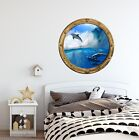 PortScape Dolphin #3 Porthole Window Wall Decal 3D Wall Sticker Mural Sea Animal