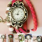 Fashion Women Girl Retro Leather Watch Winding Dress Leaf Pendant Watch Bracelet image