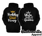 King Queen Dad Mom Hubby wife Hoodies Couple matching Valentine anniversary gift