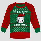 Well Worn Toddler Girls Meowy Christmas Green & Red Cat Holiday Ugly Sweater