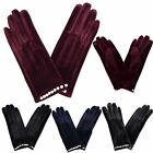 New Stylish Ladies Classic Faux Suede Beaded Cuff Smooth Winter Gloves