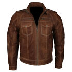 Men's Brown With White Thread Design Slim Vintage Retro Cafe Racer Buff Leather