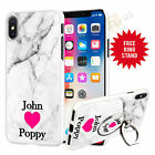 Personalised Marble Phone Case Cover & Finger Ring Stand For Top Mobiles 046-3