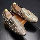 Vogue Mens Spike pointy Toe Punk Studded Rivet Loafers casual Nightclub Shoes