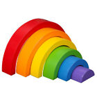 6pcs Wooden Geometry Building Blocks Toy Rainbow Stacking Game Learning Toy
