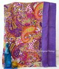 Vintage Indian Handmade Cotton-Kantha Blanket-Quilt-Throw-Queen-Cotton-Bed-Cover