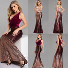 Ever-Pretty V-neck Evening Dress Long Sequins Fishtail Bodycon Prom Gown 07767