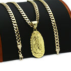 Mens 18k Gold Plated  Guadalupe  Hip-hop Pendant 6mm Cuban Chain Necklace (k-1)