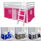Mid Sleeper Cabin Bed Loft Bunk with Tent & Ladder Boys Girls White Frame Shorty