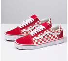 Vans Old Skool ( PRIMARY CHECK) RACING RED/WHITE Classic Canvas/Suede Fast ship