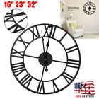 16 23 32 Large Garden 3D Wall Clock Roman Numerals Gear Round Indoor/Outdoor