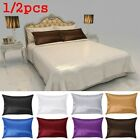 Solid Color Queen Bedding Throws Cushion Cover Home Decor Satin Silk Pillowcase image